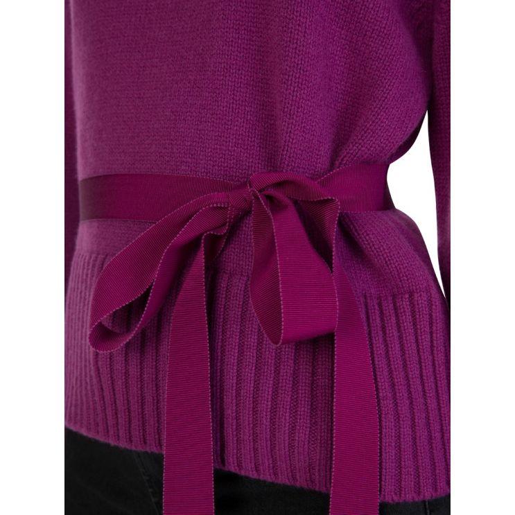 Moncler Berry Roll Neck Tie-Side Knit Jumper
