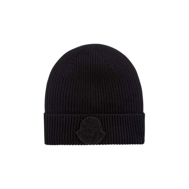Moncler Black Sequin Logo Beanie Hat