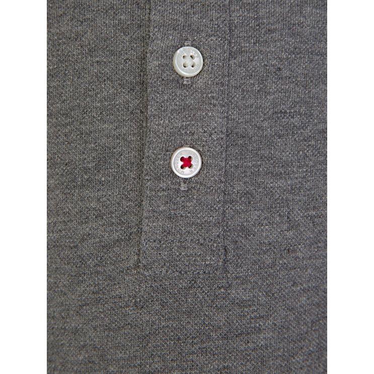 Moncler Enfant Grey Long Sleeve Polo Shirt