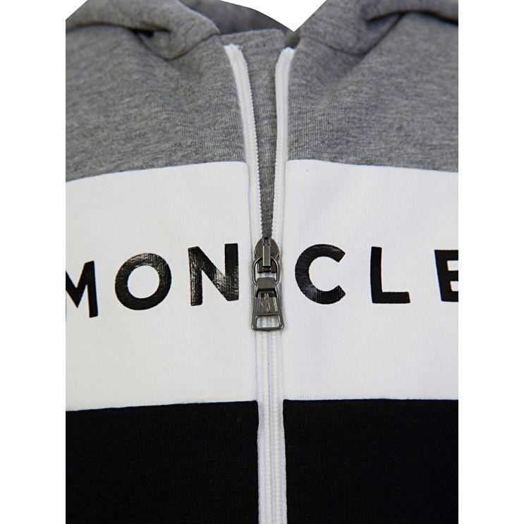 Moncler Enfant Grey Logo Hooded Tracksuit