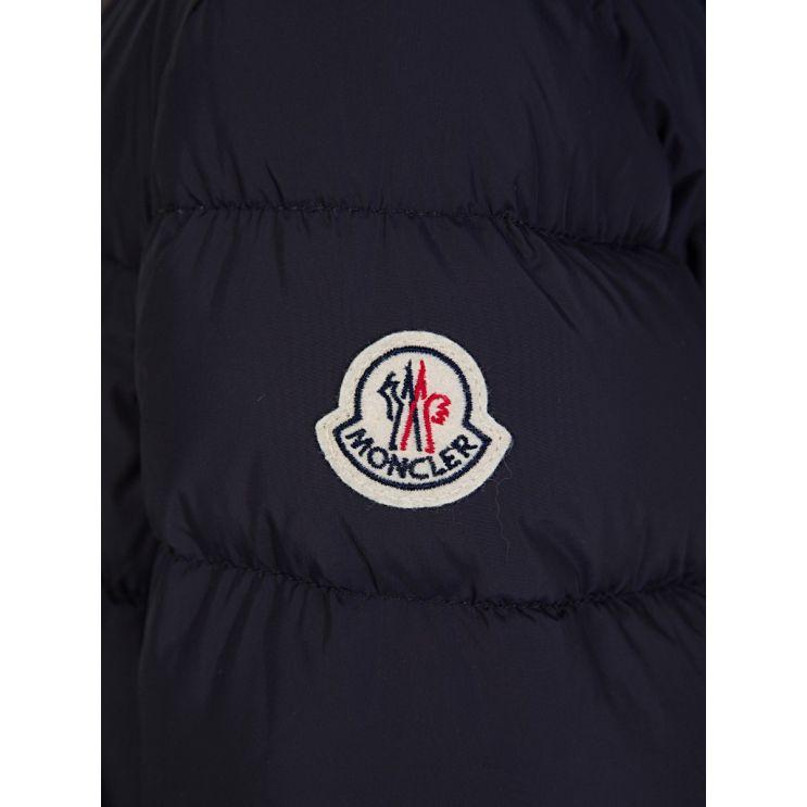 Moncler Enfant Navy Blue Fur Puffer Coat