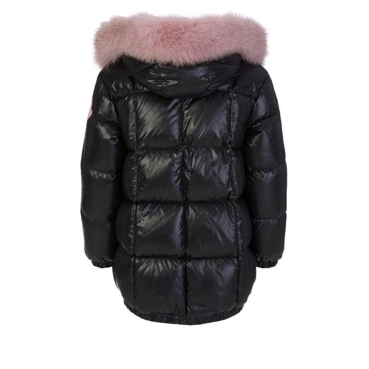 Moncler Enfant Black Parana Fur Hooded Jacket