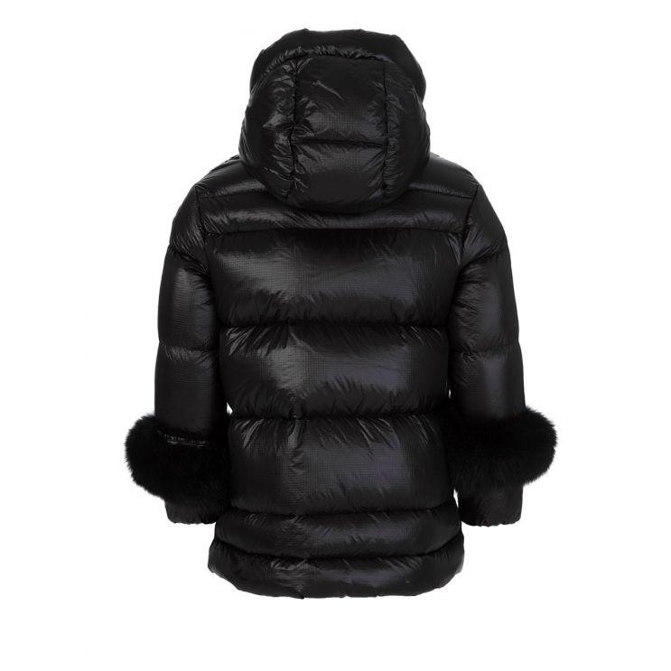 Moncler Enfant Black Brionnais Fur Cuff Jacket