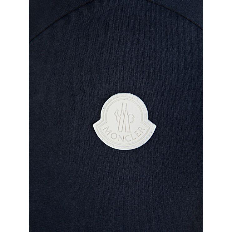 Moncler Enfant Navy Long-Sleeved Logo T-Shirt