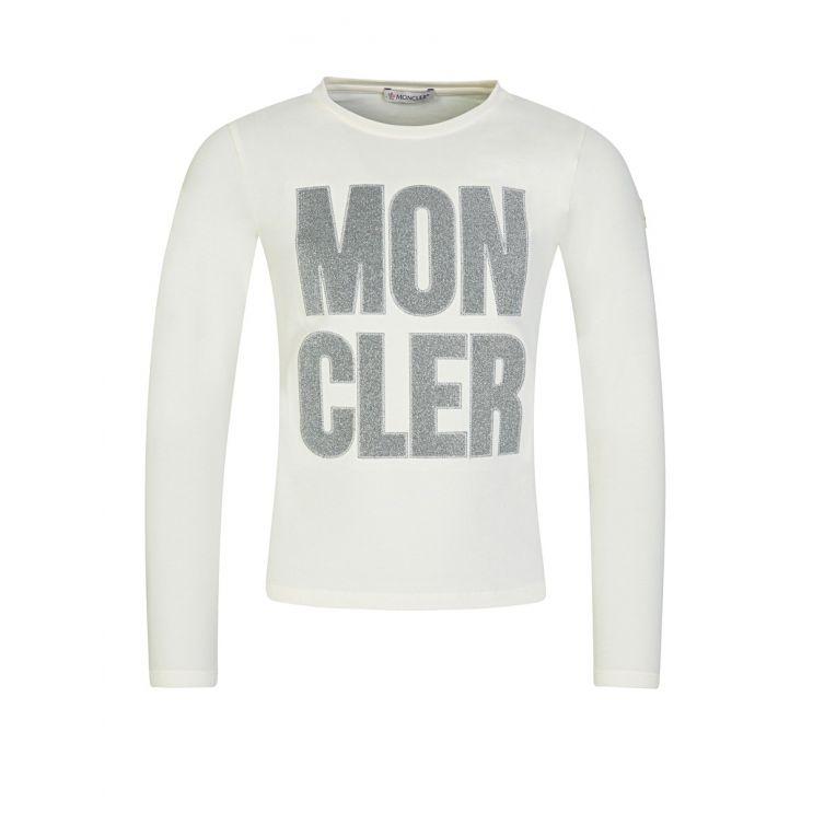 Moncler Enfant Cream Long-Sleeved Glitter T-Shirt