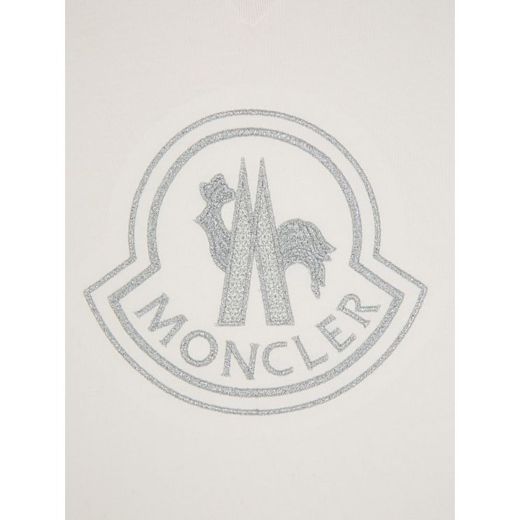 Moncler Enfant Ivory Glitter Logo T-Shirt