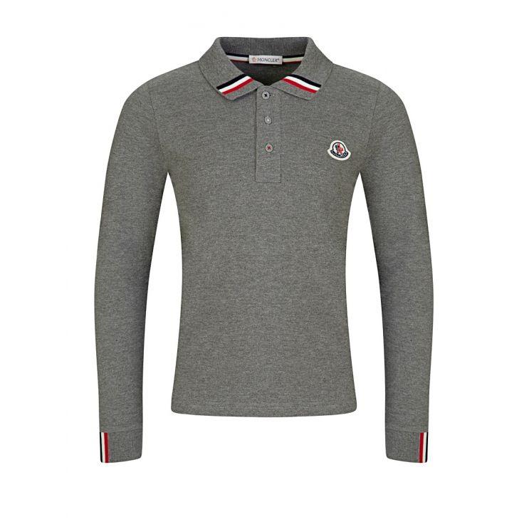Moncler Enfant Grey Long-Sleeved Polo Shirt