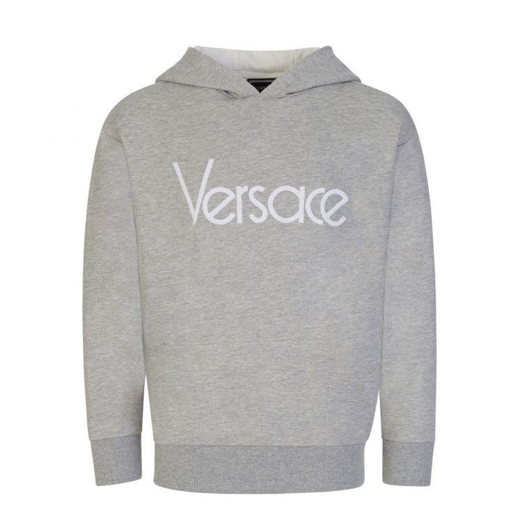 Versace Grey Embroidered Logo Hoodie
