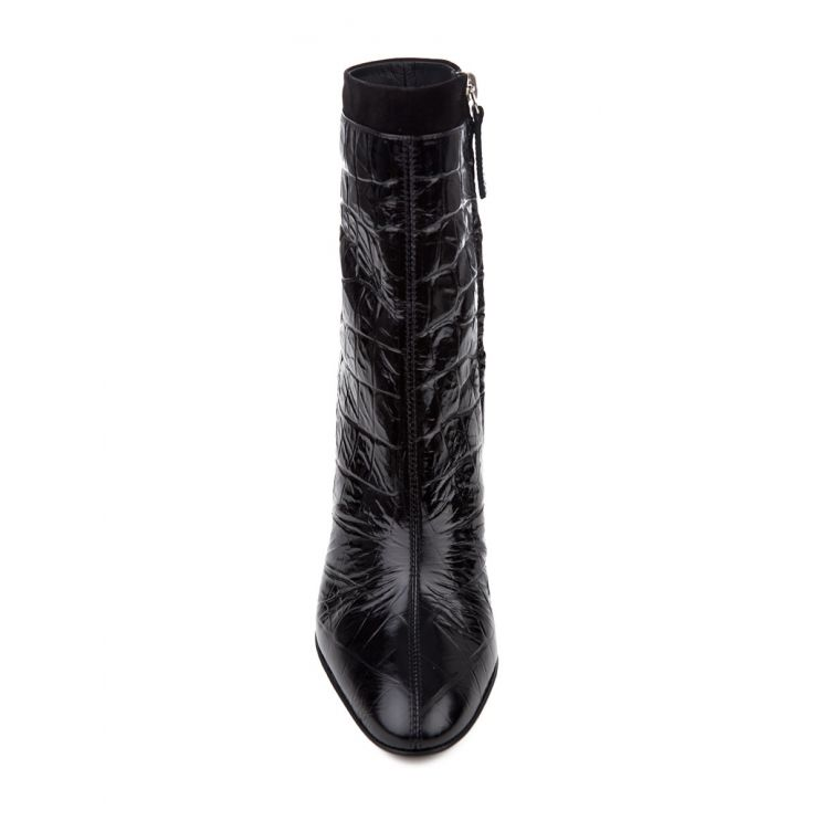 Giuseppe Zanotti Black Alligator Print Ankle Boots