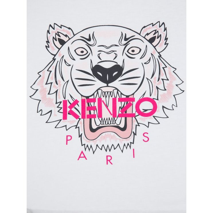 KENZO Kids White Tiger Head T-Shirt