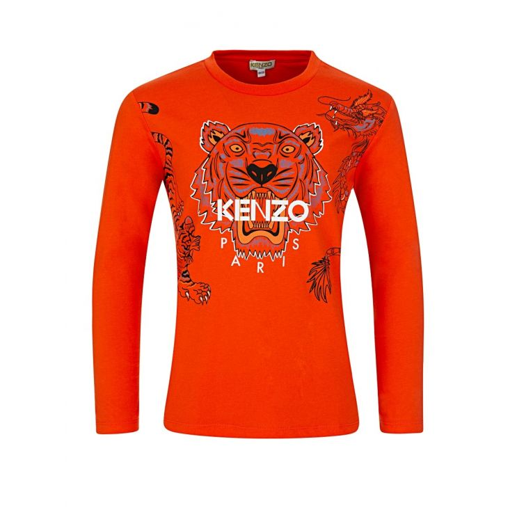 KENZO Kids Orange Paris Long Sleeved T-Shirt