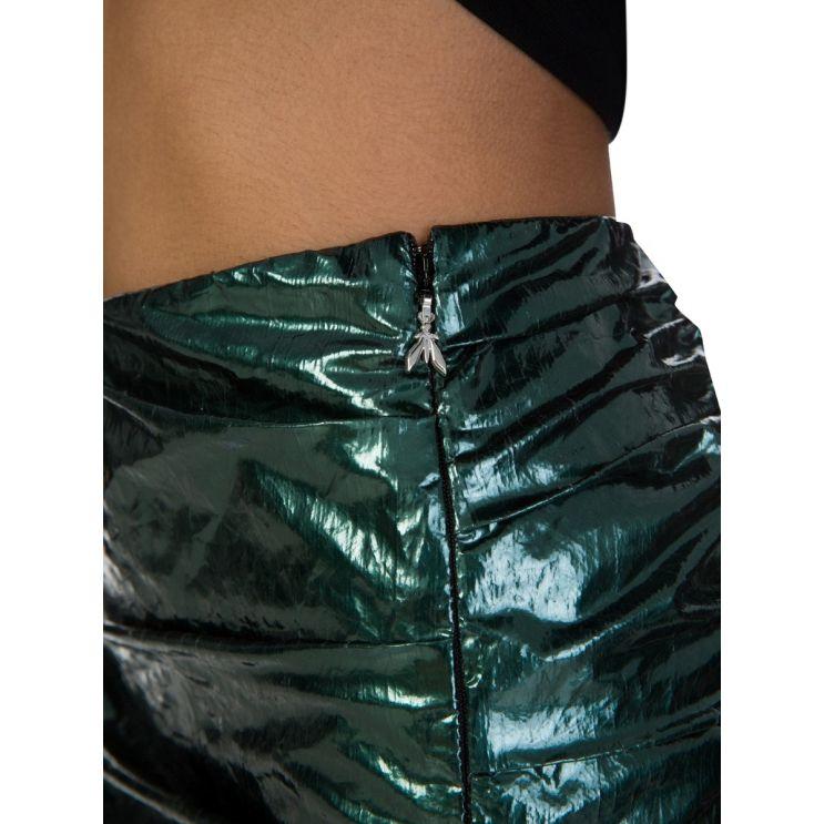 Patrizia Pepe Glow Green Laminated-Effect Mini Skirt