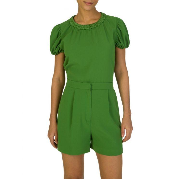 KENZO Green Puff Sleeve Blouse