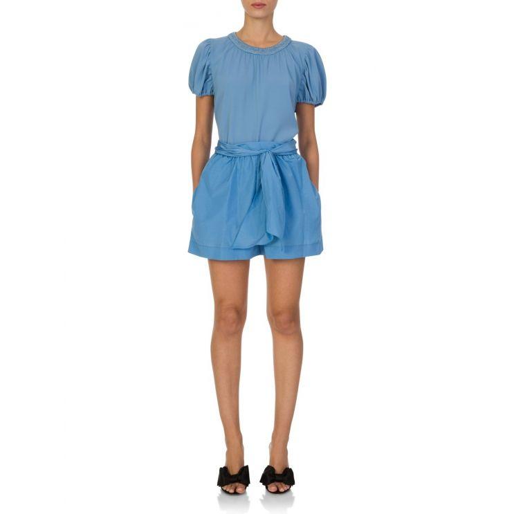 KENZO Blue Puff Sleeve Blouse