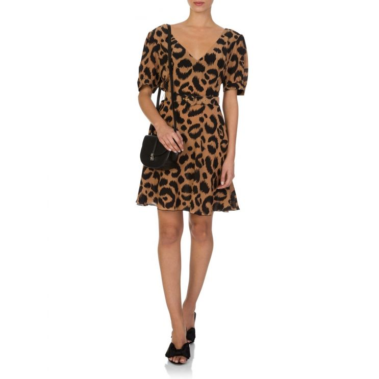 Hayley Menzies Camel/Black Ikat Mini Dress