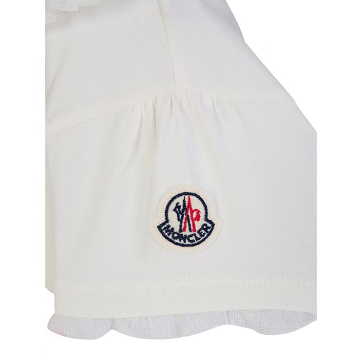 Moncler Enfant White Double Logo Dress