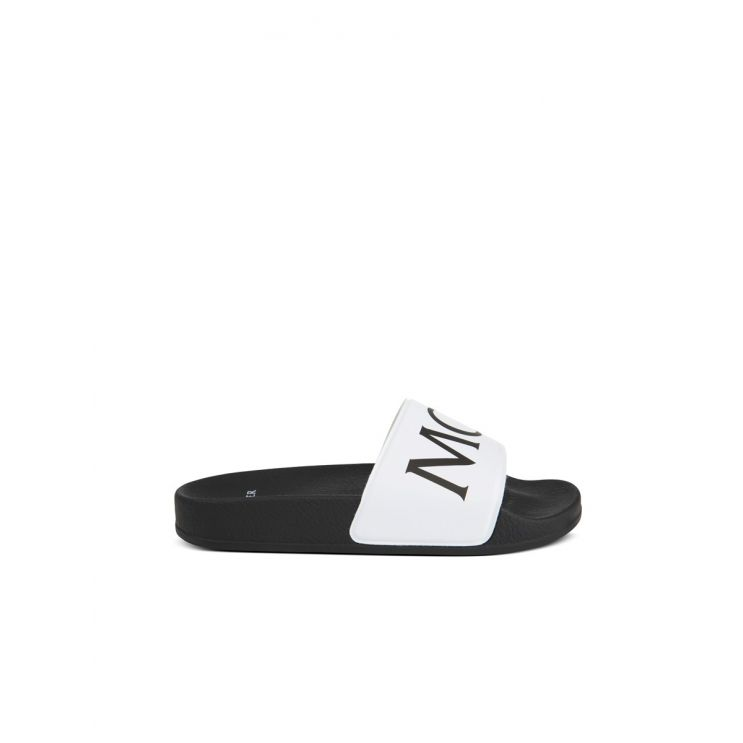 Moncler Enfant White Logo Sasha Slides