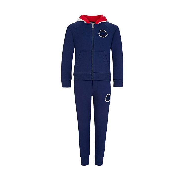 Moncler Enfant Navy Zip Logo Hoodie