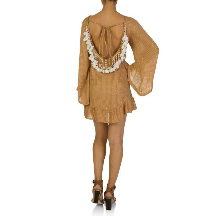 Sundress Indiana Brown White Flowers Short Dress