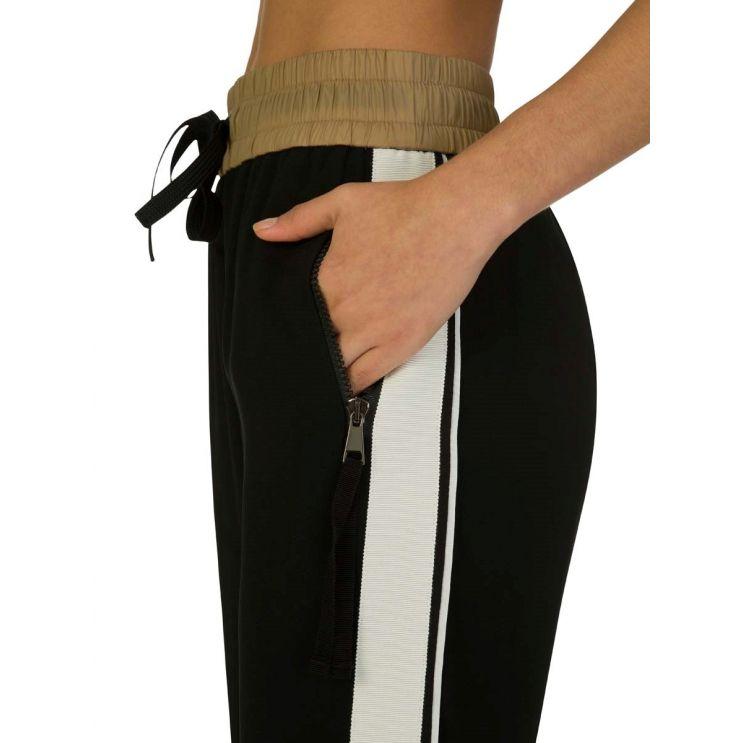 Moncler Black Tie Waist Casual Trousers