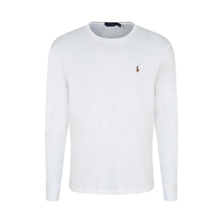 Polo Ralph Lauren White Custom Slim-Fit Long-Sleeve T-Shirt