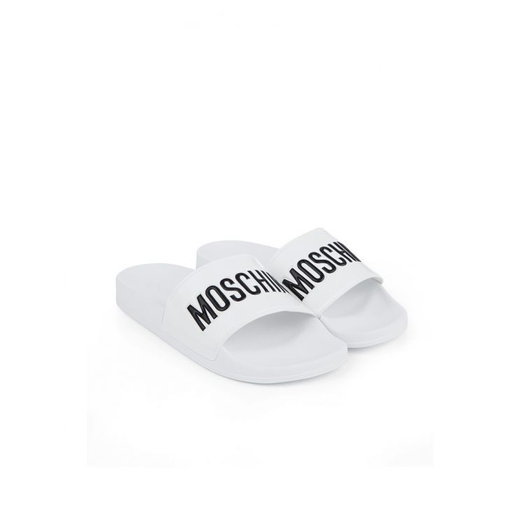 Moschino White/Black Rubber Pool Slides