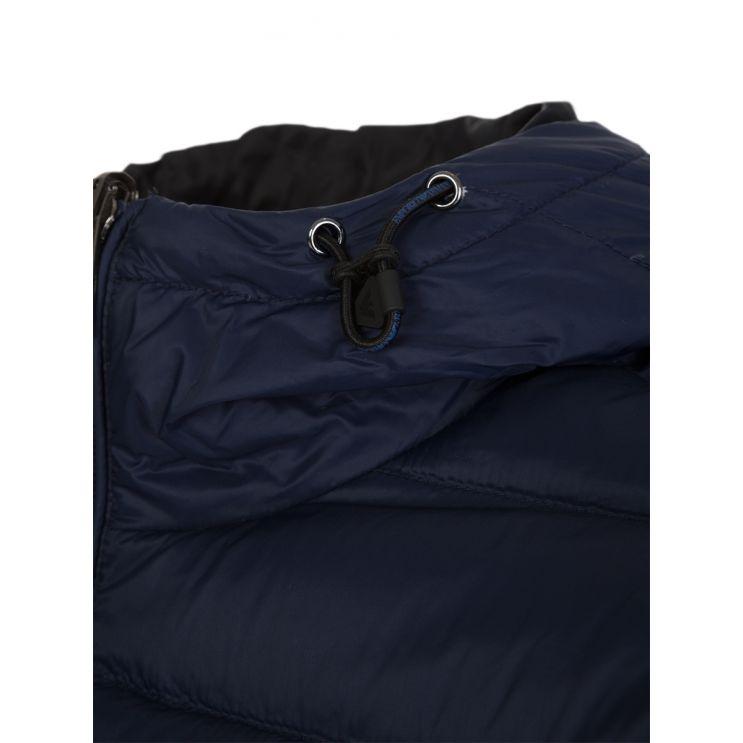 Emporio Armani Blue Reversible Hooded Rain Jacket