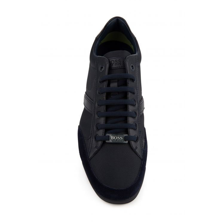 BOSS Navy Saturn Low-Top Trainers