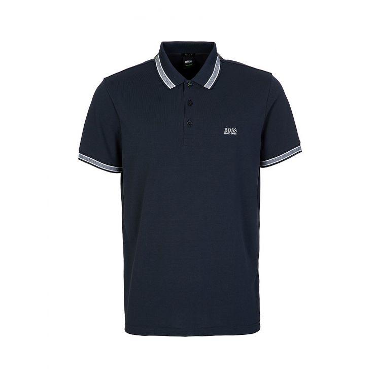 BOSS Navy Stripe Detail Polo Shirt