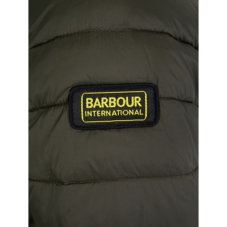 Barbour International Olive Ouston Hooded Quilted Jacket