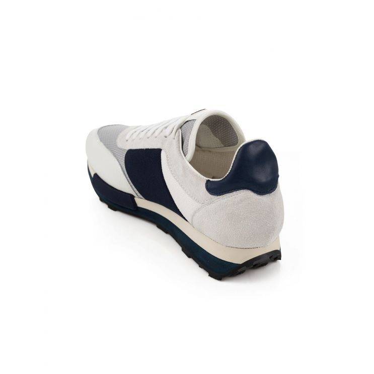 Moncler White & Navy Horace Trainers