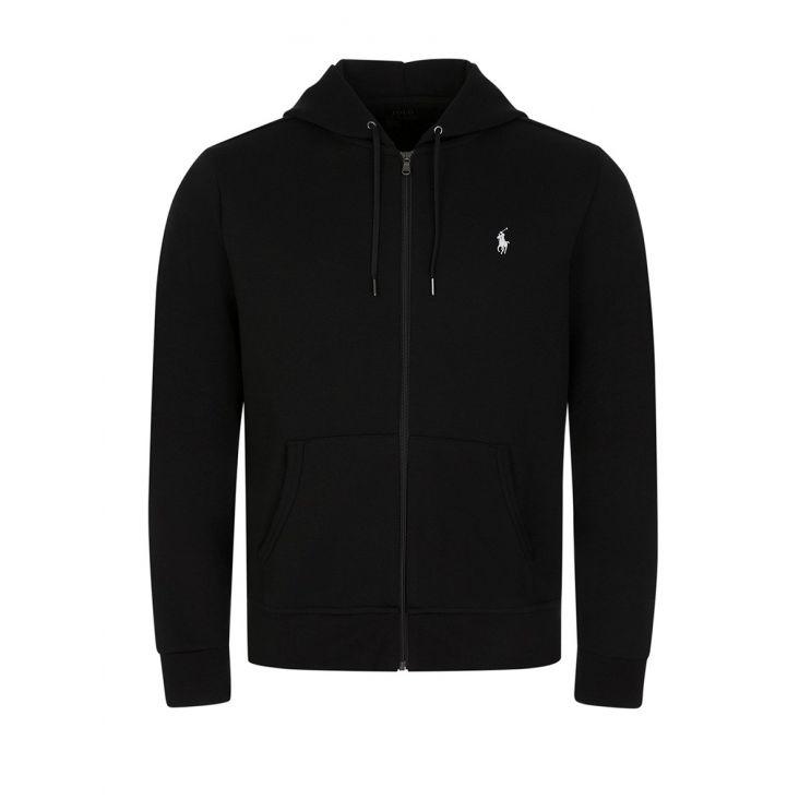 Polo Ralph Lauren Black Double-Knitted Full-Zip Hoodie