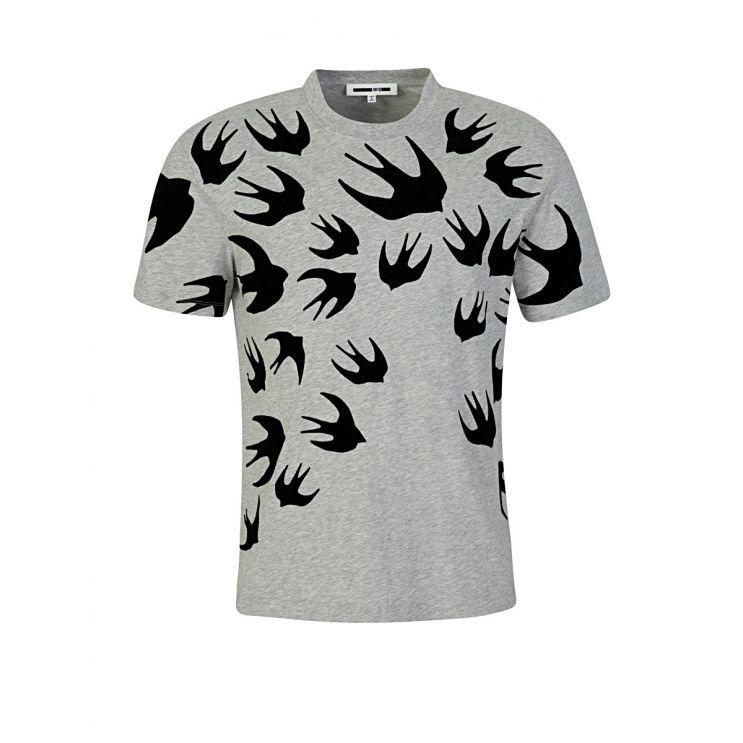 McQ Swallow Grey Dropped Shoulder Swallow T-Shirt
