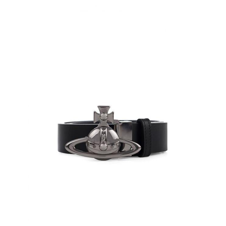 Vivienne Westwood Black Leather Orb Belt