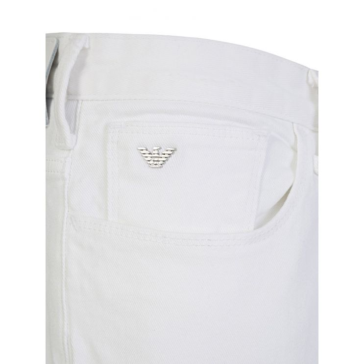 Emporio Armani White J06 Slim Fit Denim Jeans