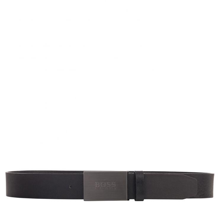 BOSS Black Italian Leather Boss-Icon Logo Plaque Belt