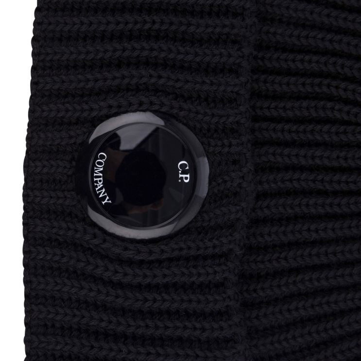 C.P. Company Black Extra Fine Merino Wool Beanie