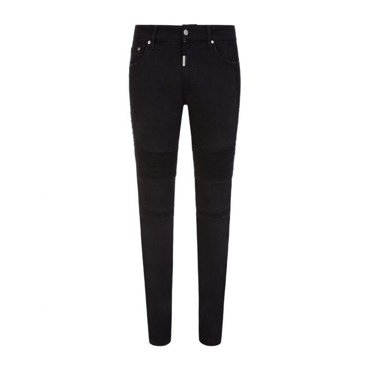Represent Black Skinny-Fit Biker Denim Jeans