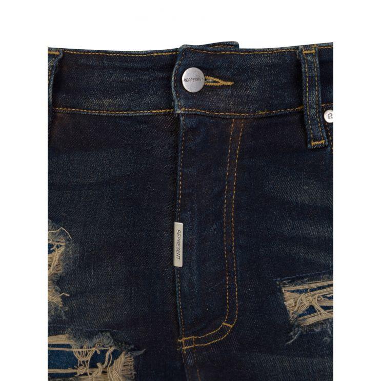 Represent Navy Skinny-Fit Shredded Denim Jeans
