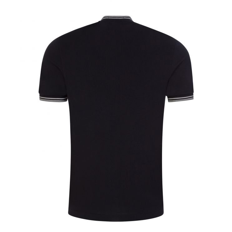 Fred Perry Navy Textured Henley Polo Shirt