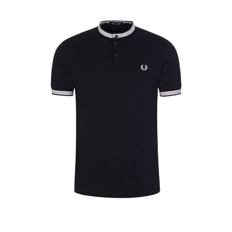Fred Perry Navy Textured Tipped Henley Polo Shirt