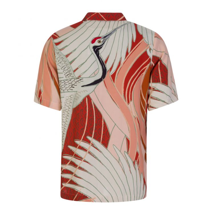 HUGO Red/White Relaxed-Fit Japanese Crane-Print Shirt