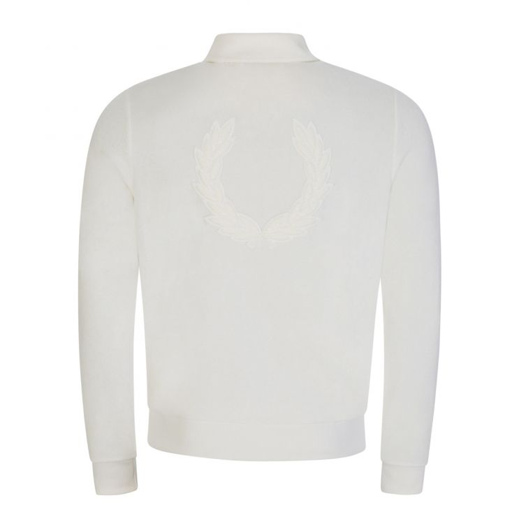 Fred Perry White Towelling Zip-Through Track Jacket