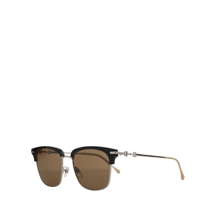 Gucci Black/Silver Square-Frame Sunglasses