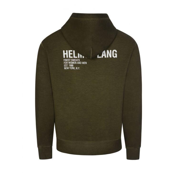 Helmut Lang Green Garment Dyed Terry Hoodie