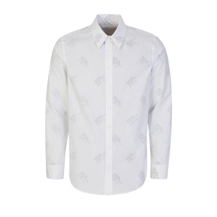 Helmut Lang White/Black Stamp Logo Shirt