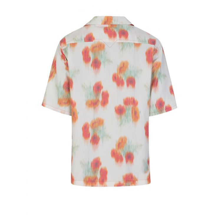 KENZO White/'Coquelicot' Casual Short-Sleeve Shirt