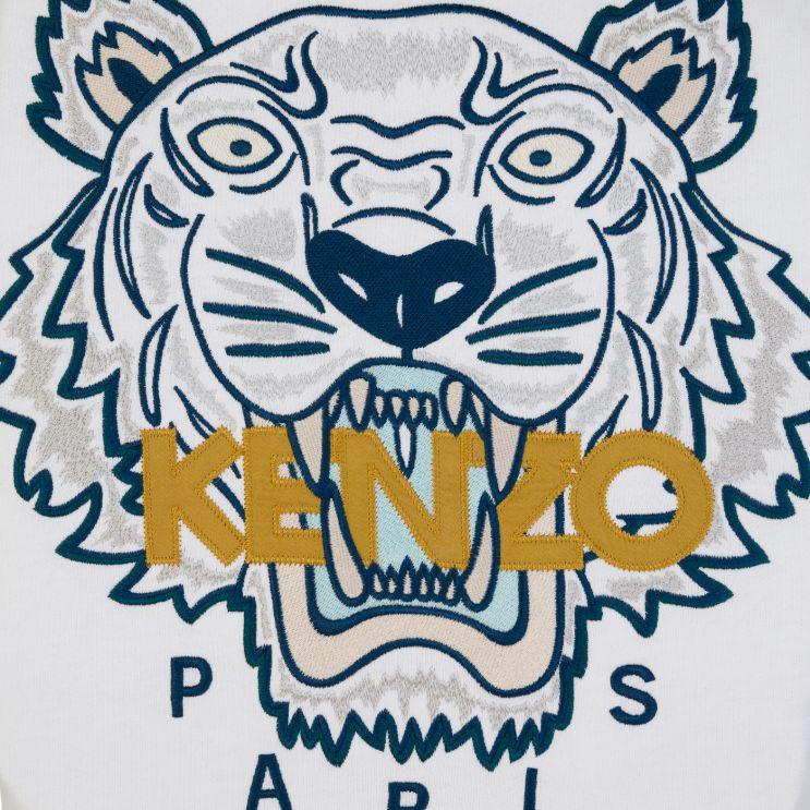 KENZO White Embroidered Tiger Logo Sweatshirt