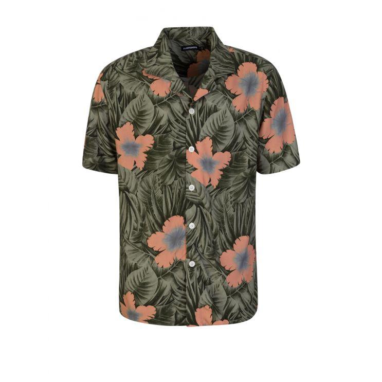 J.Lindeberg Green Hawaiian Print Shirt