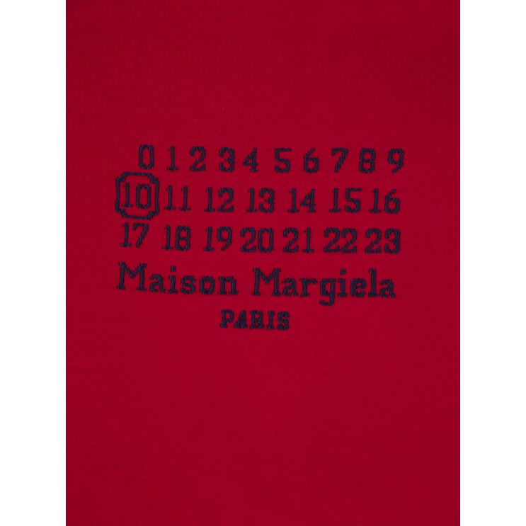 Maison Margiela Red Oversized-Fit Numbers Logo Popover Hoodie